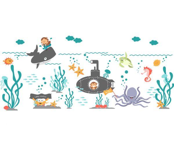 Stickere pentru copii Tiparo Lumea Acvatica 119 x 380 cm la pret decent